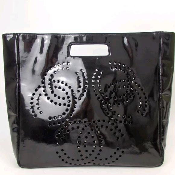 9f807d1a9e09 CHANEL Handbags - RARE Black Chanel Perforated Triple C Patent Tote